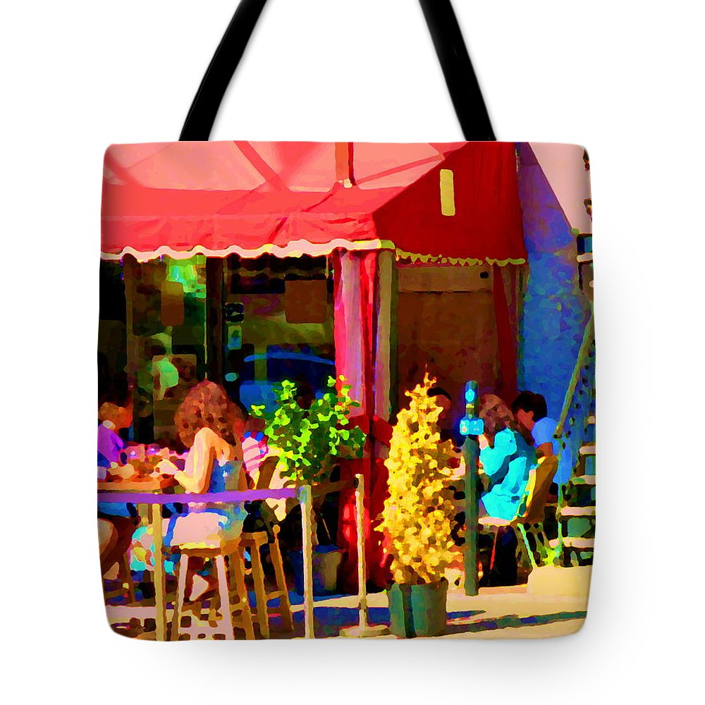 Montreal Tote Bag featuring the painting Romantic Terrace Dinner Date Piazzetta Bistro Rue St Denis French Cafe Street Scene Carole Spandau by Carole Spandau