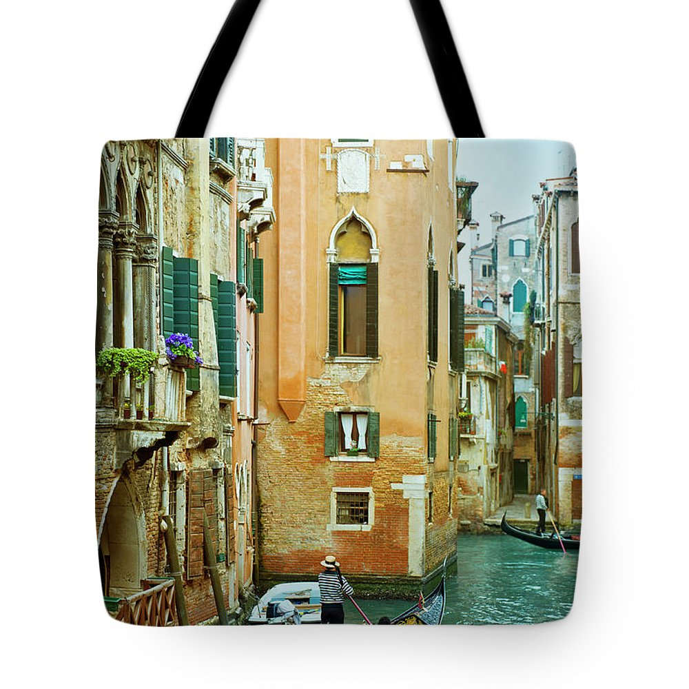 Heterosexual Couple Tote Bag featuring the photograph Romantic Venice Views From Gondola by Caracterdesign