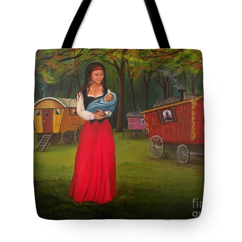 Mother And Child Tote Bag featuring the painting Romany Mother and Child by Lora Duguay