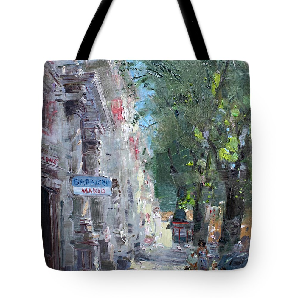 Rome Tote Bag featuring the painting Rome Dal Barbiere Mario by Ylli Haruni