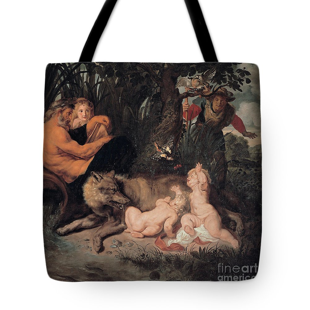 Tote Bag featuring the painting Romulus And Remus by Viktor Birkus