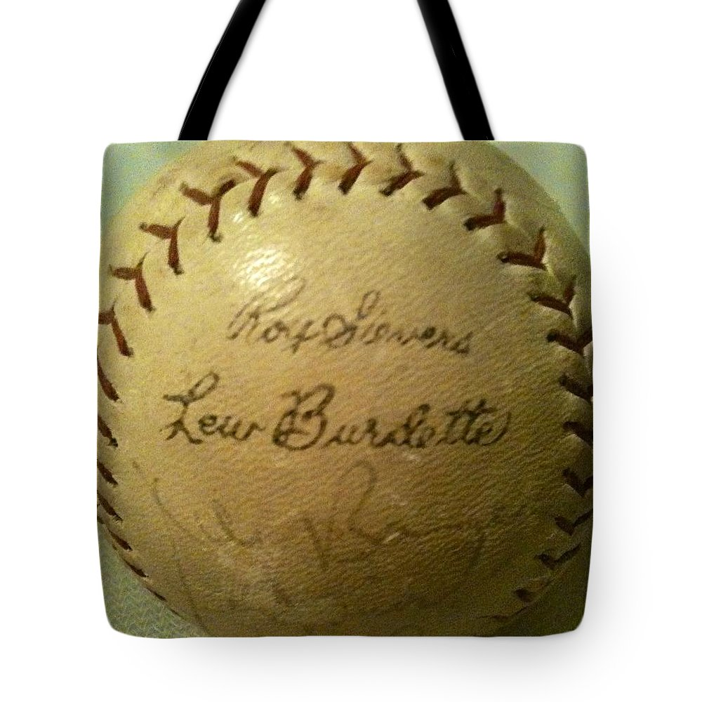Lew Burdette Tote Bag featuring the photograph Ron Sievers And Lew Burdette Autograph Baseball by Lois Ivancin Tavaf