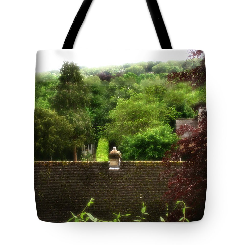 Garden Tote Bag featuring the photograph Roof Tops In Countryside Scenery With Trees - Peak District - England by Doc Braham