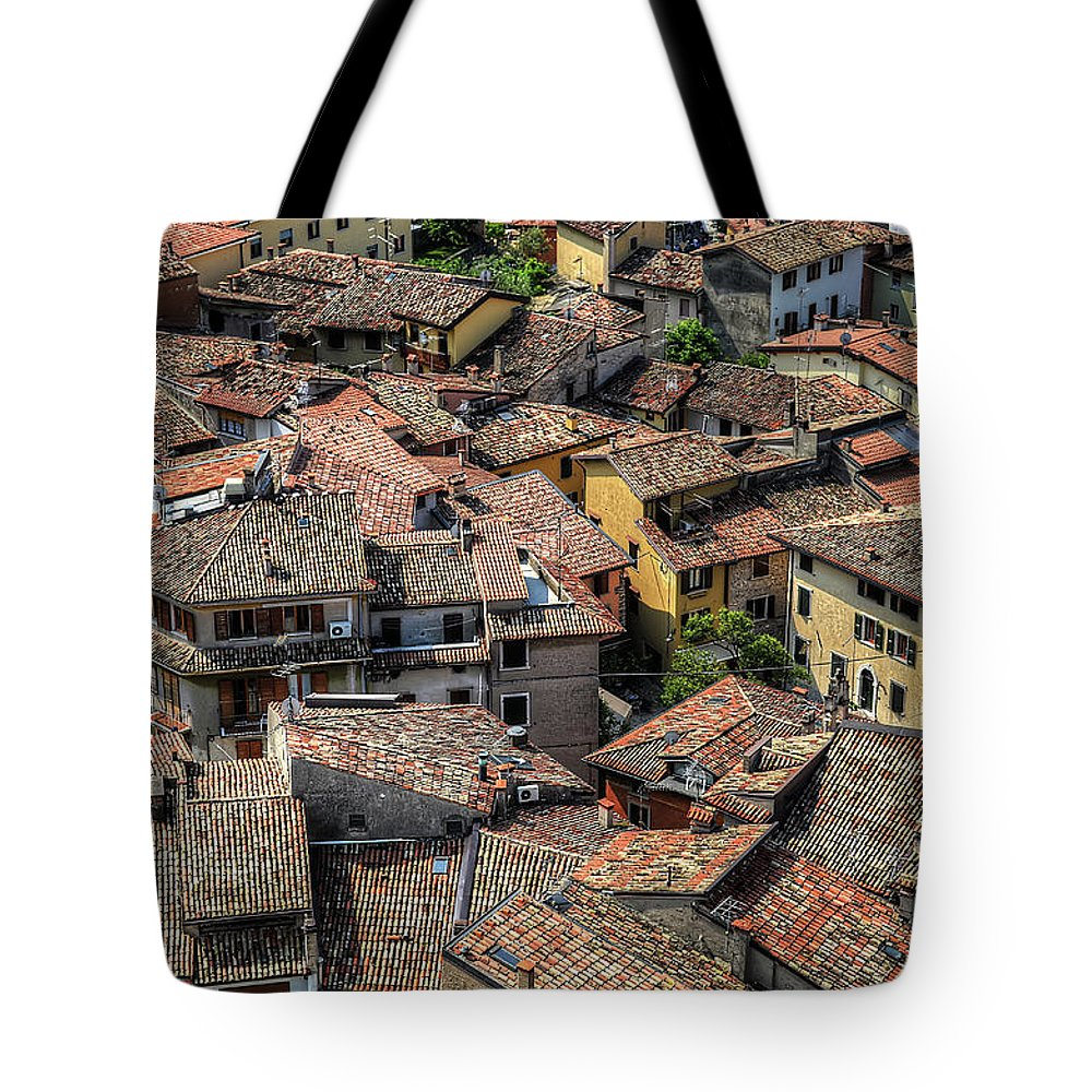 Tranquility Tote Bag featuring the photograph Roofs by Mento