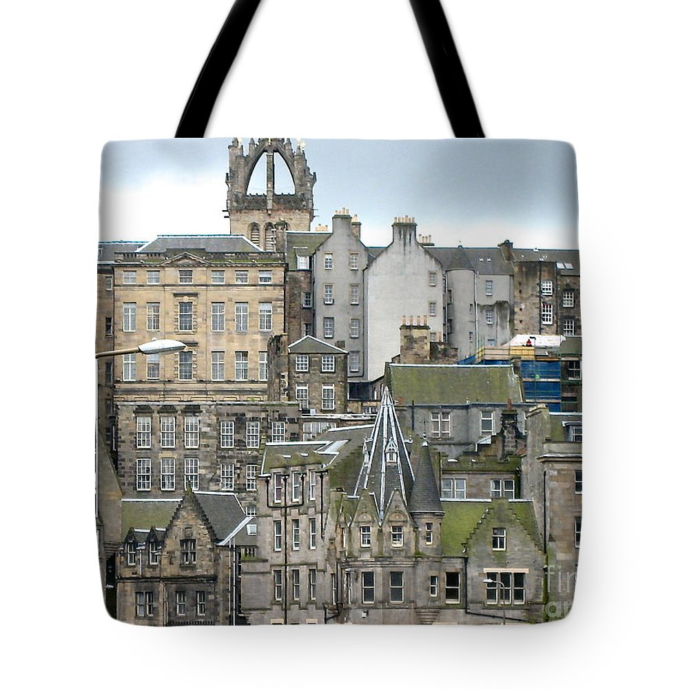 Scotland Edinburgh Rooftops Europe Architecture Green Rustic Aged City Tote Bag featuring the photograph Roofs Of Edinburgh by Suzanne Oesterling