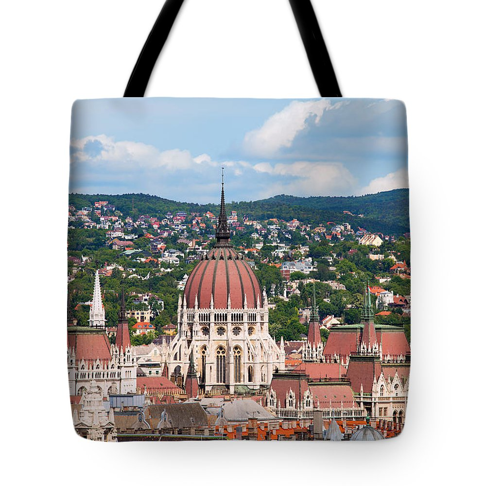 Parliament Tote Bag featuring the photograph Rooftop Of Parliament Building In Budapest by Artur Bogacki