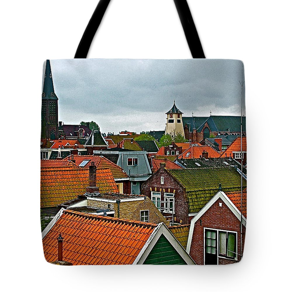 Rooftops From Our Host's Apartment In Enkhuizen Tote Bag featuring the photograph Rooftops From Our Host's Apartment In Enkhuizen-netherlands by Ruth Hager