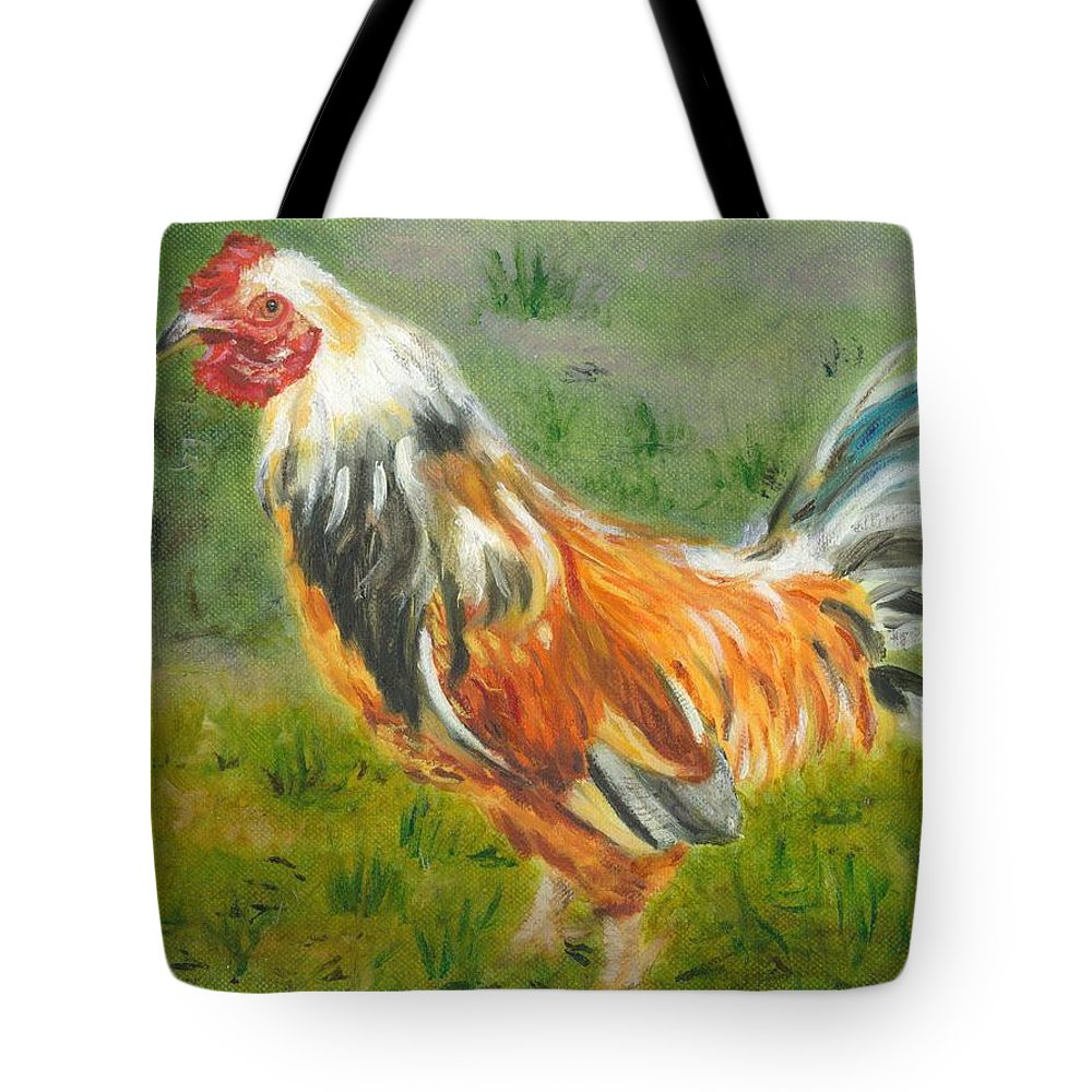 Rooster Tote Bag featuring the painting Rooster Rules by Paula Emery
