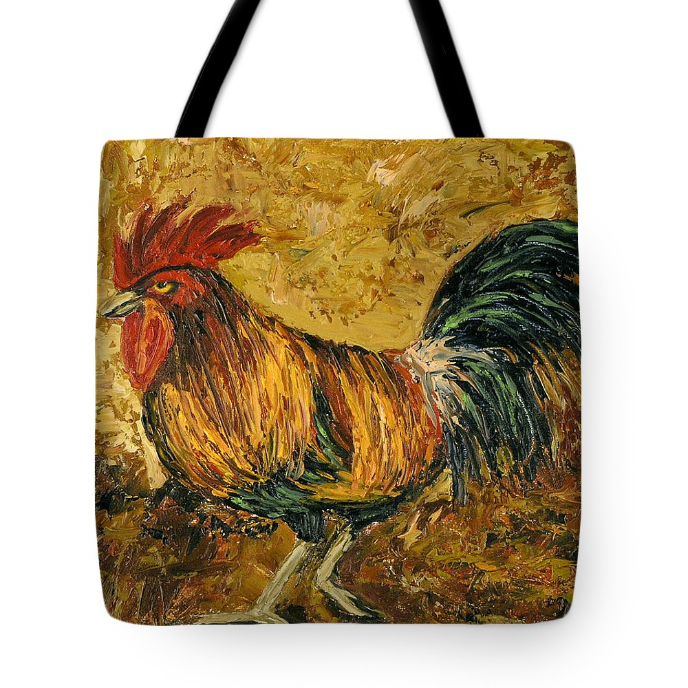 Rooster Tote Bag featuring the painting Rooster With Attitude by Darice Machel McGuire