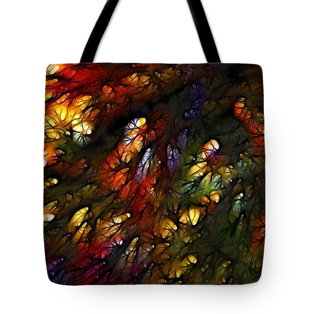 Painting Roots Expressionism Impressionism Color Colors Colorful Tree Abstract Acrylic Canvas Art Tote Bag featuring the painting Roots by Steve K