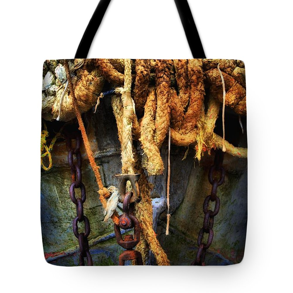 Newel Hunter Tote Bag featuring the photograph Ropes And Chains Smooth by Newel Hunter
