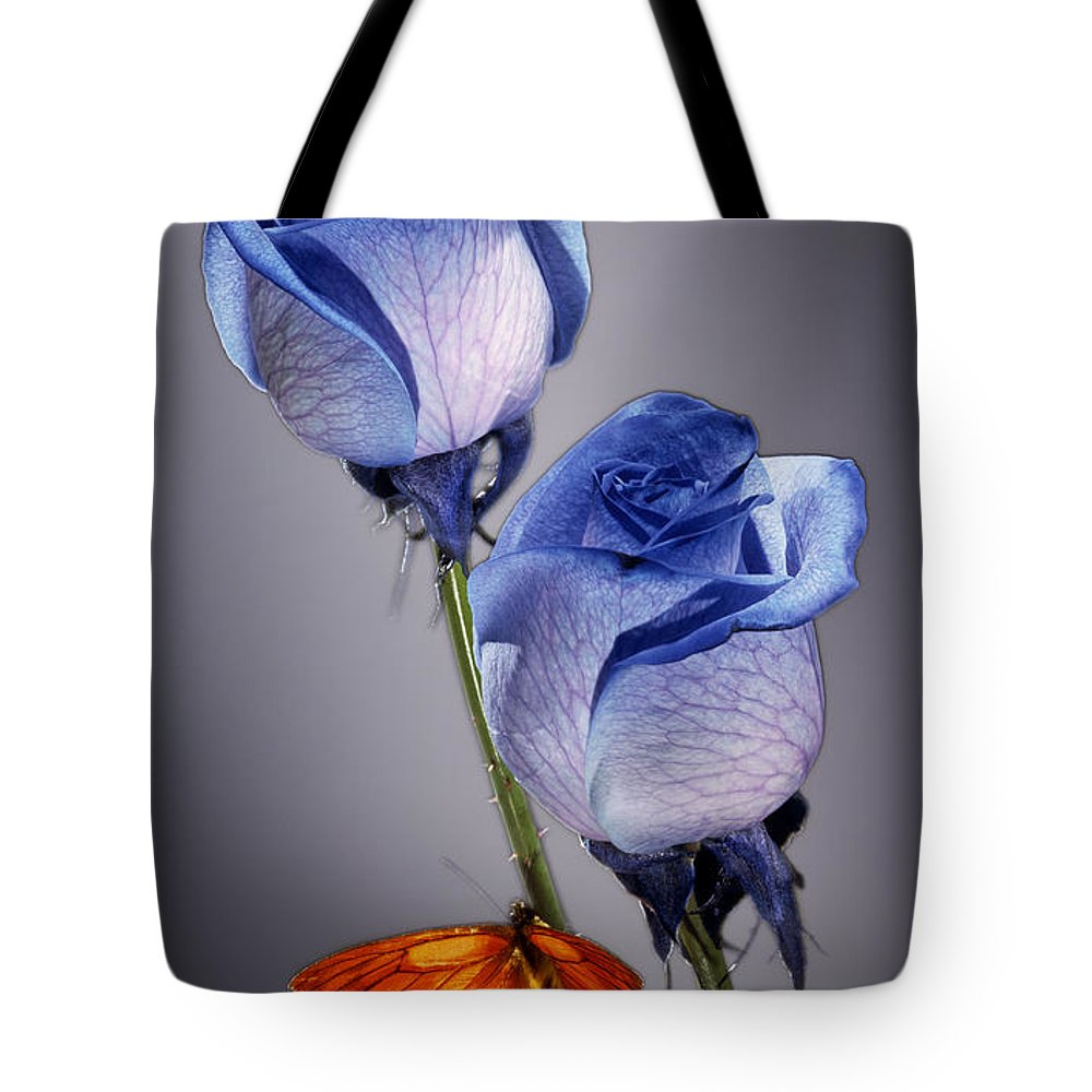 Cobalt Tote Bag featuring the photograph Rosa Azul With Orange by Kirk Ellison