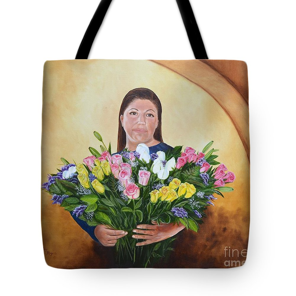 People Tote Bag featuring the painting Rosa's Roses by Mary Rogers