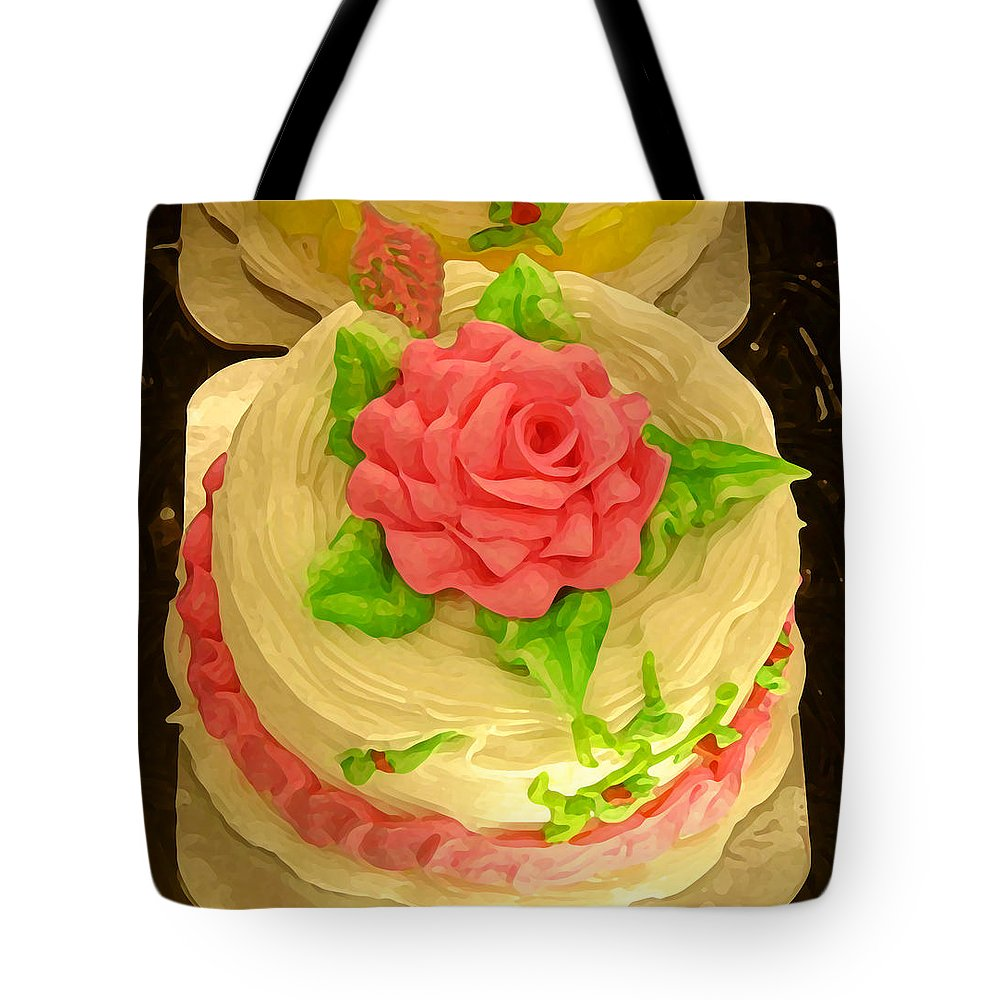 Food Tote Bag featuring the painting Rose Cakes by Amy Vangsgard