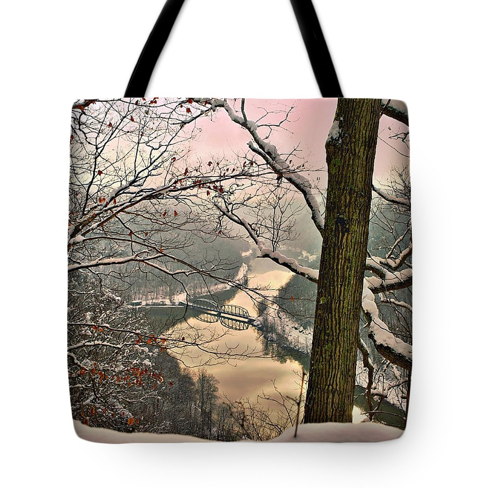 Hawks Nest State Park Tote Bag featuring the photograph Rose Colored Morning by Mary Almond