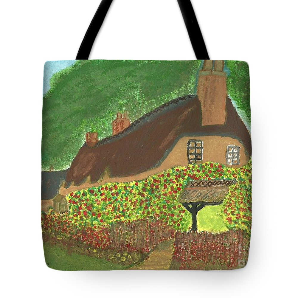 Rose Tote Bag featuring the painting Rose Cottage by Tracey Williams