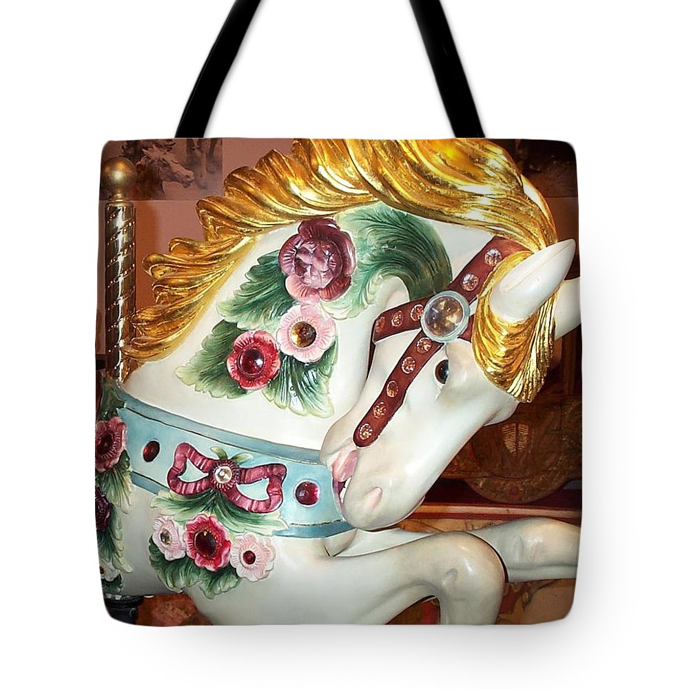 Carousel Pony Tote Bag featuring the photograph Rose Covered Pony by Barbara McDevitt