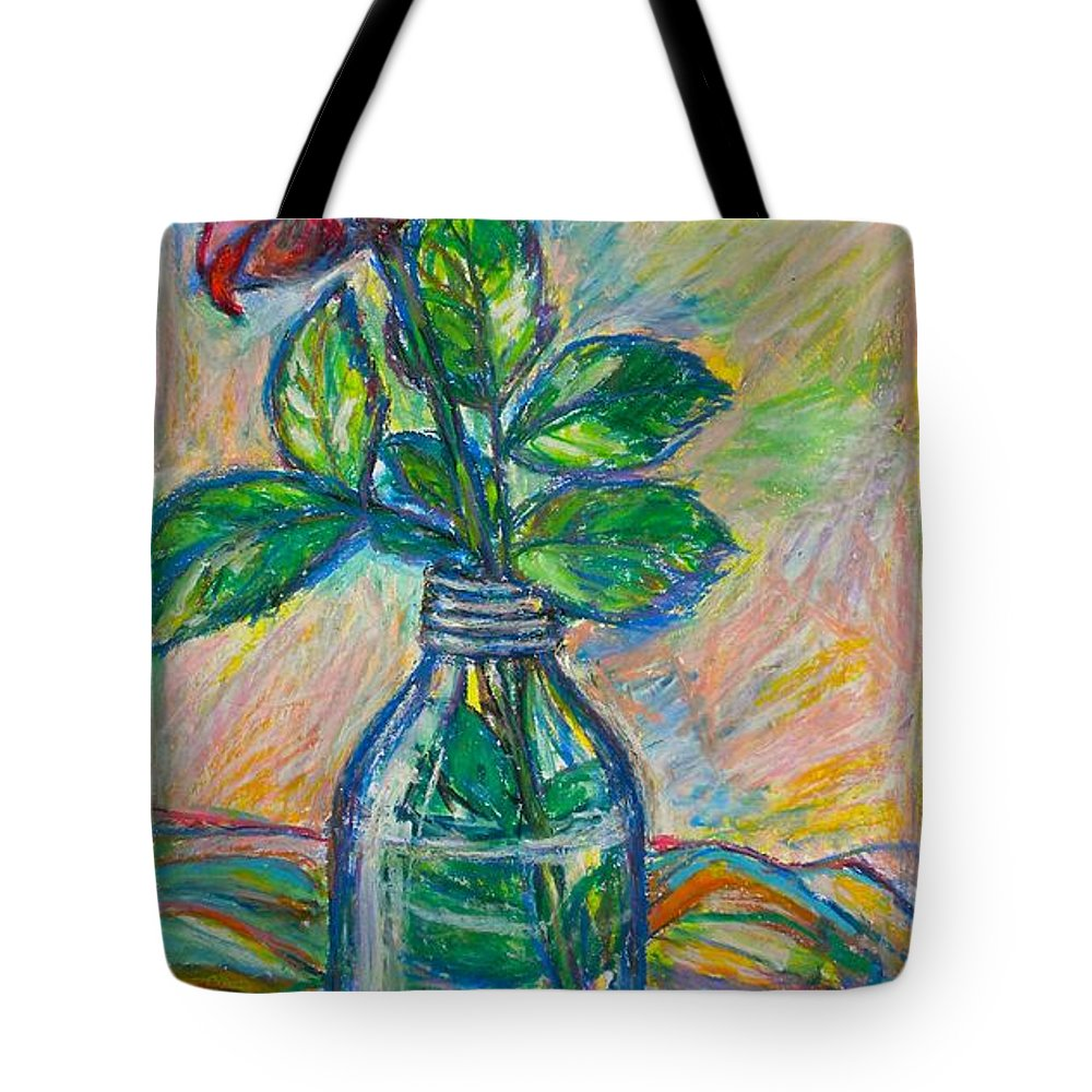 Still Life Tote Bag featuring the painting Rose In A Bottle by Kendall Kessler
