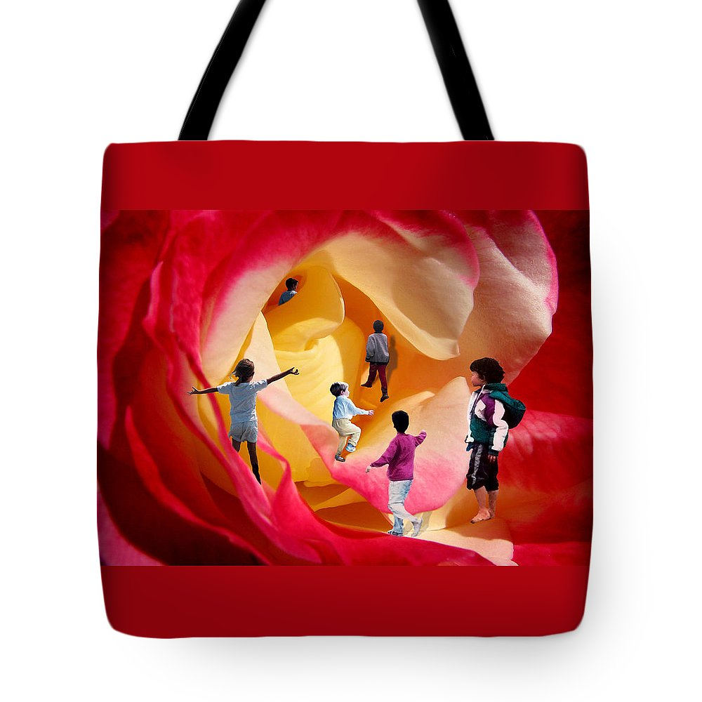 Rose Tote Bag featuring the digital art Rose Labyrinth by Lisa Yount