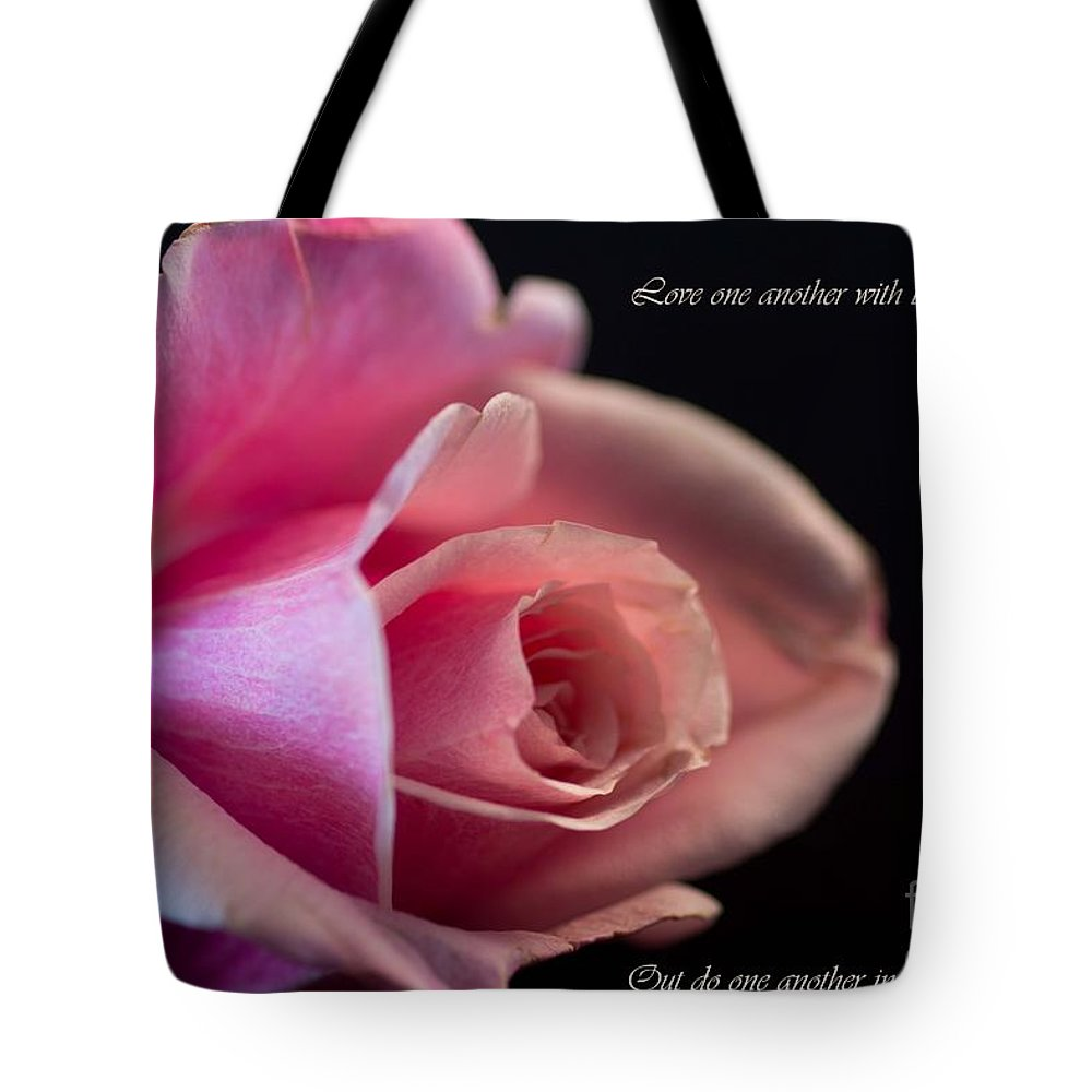 Pink Tote Bag featuring the photograph Rose-love by Sandra Clark