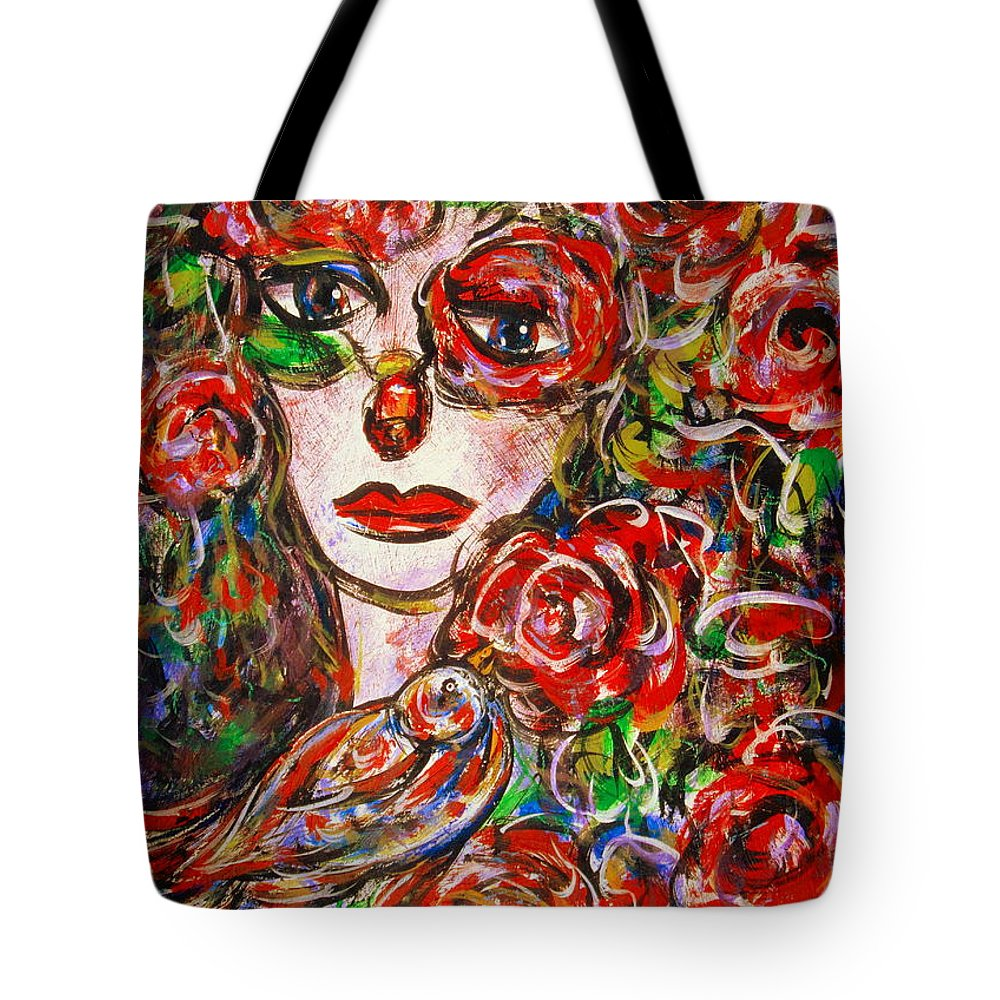 Expressionism Tote Bag featuring the painting Rose by Natalie Holland