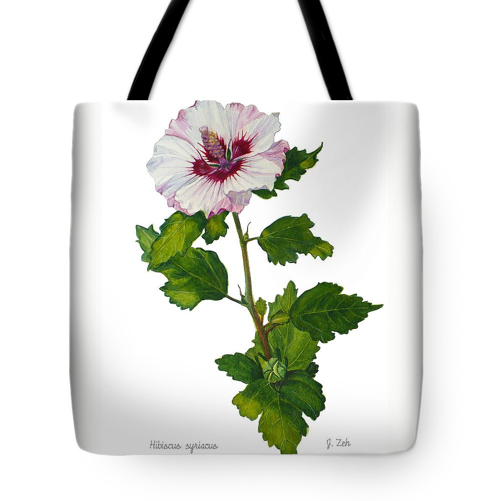 Hibiscus Tote Bag featuring the painting Rose Of Sharon - Hibiscus Syriacus by Janet Zeh