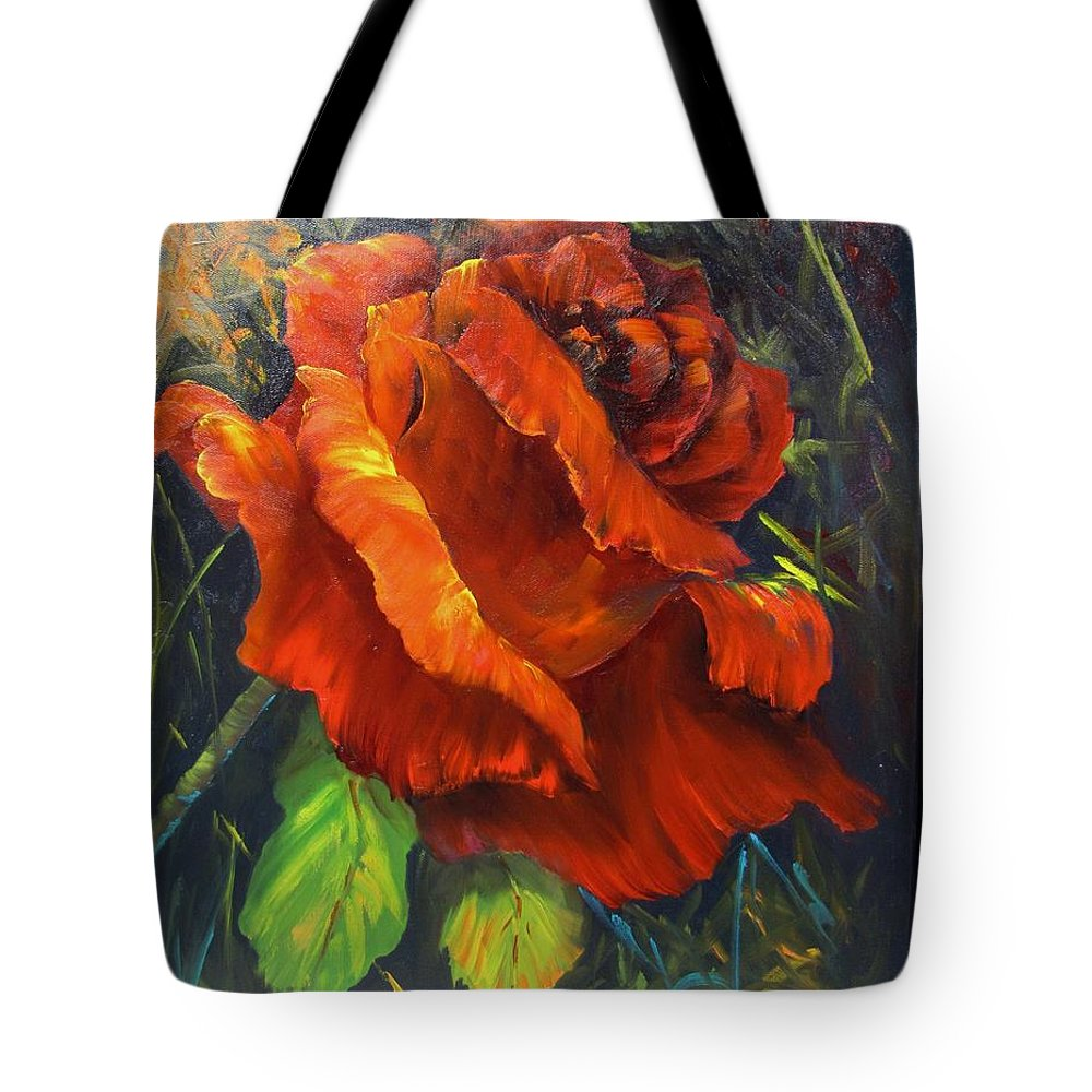 Rose Tote Bag featuring the painting Rose Red by Barbara Haviland