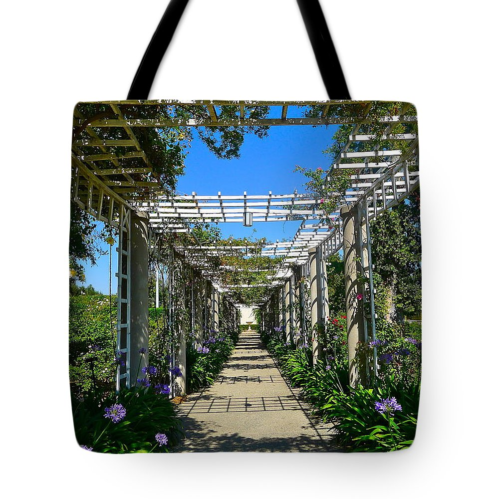 Trellis Tote Bag featuring the photograph Rose Trellis by Denise Mazzocco