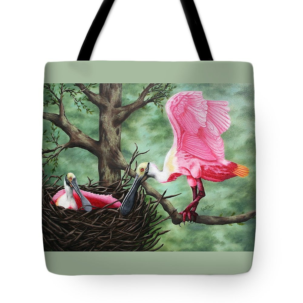 Roseate Spoonbills Tote Bag featuring the painting Roseate Spoonbill Nesters by Ruth Bares