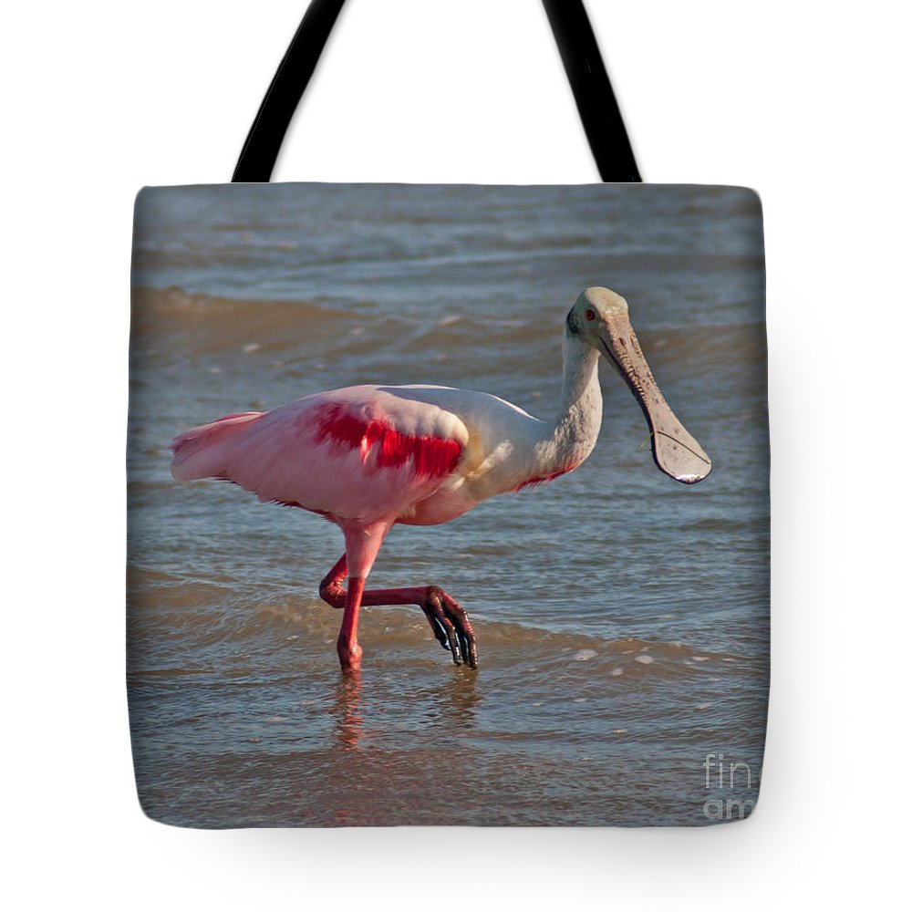 Roseate Spoonbill Tote Bag featuring the photograph Roseate Spoonbill by Stephen Whalen