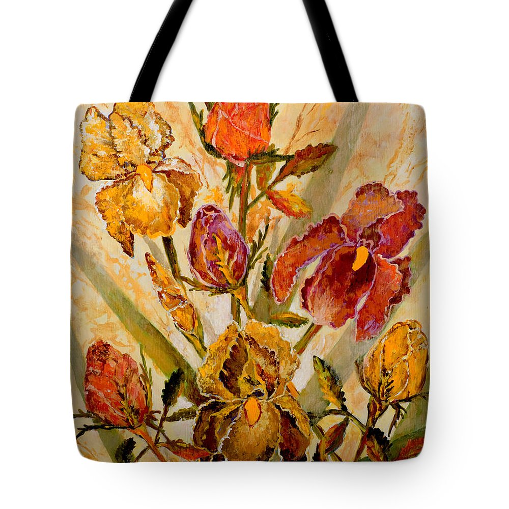 Roses Tote Bag featuring the painting Roses And Irises by Lou Ann Bagnall