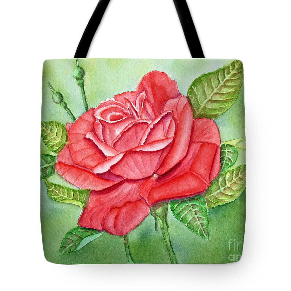Rose Tote Bag featuring the painting Roses Are Red by Kathryn Duncan