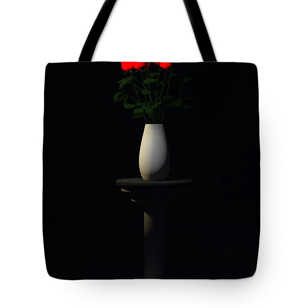Still Life Tote Bag featuring the digital art Roses For Sk... by Tim Fillingim