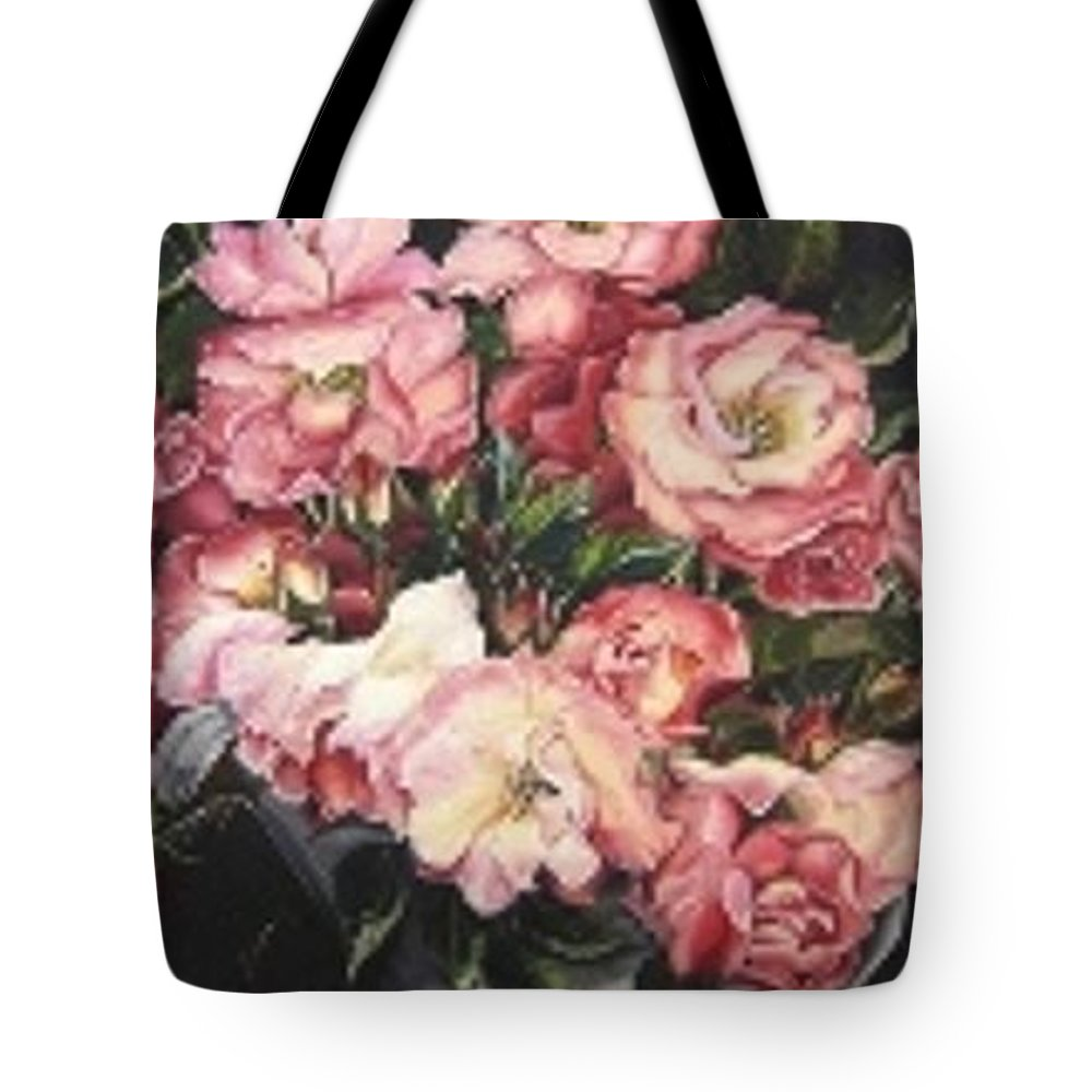 Pink Roses Floral Flowers Tote Bag featuring the painting Roses In A Watercan by Karin Dawn Kelshall- Best