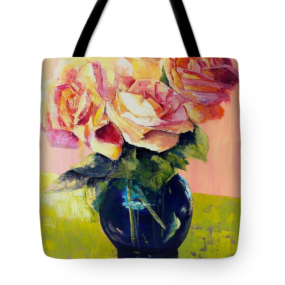 Still Life Tote Bag featuring the painting Roses by Marlene Book
