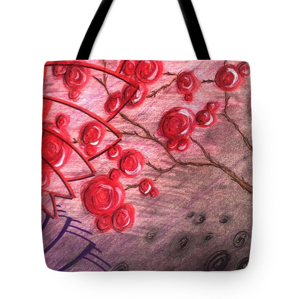 Flowers Tote Bag featuring the drawing Rosettes In Abstract by Noah Babcock