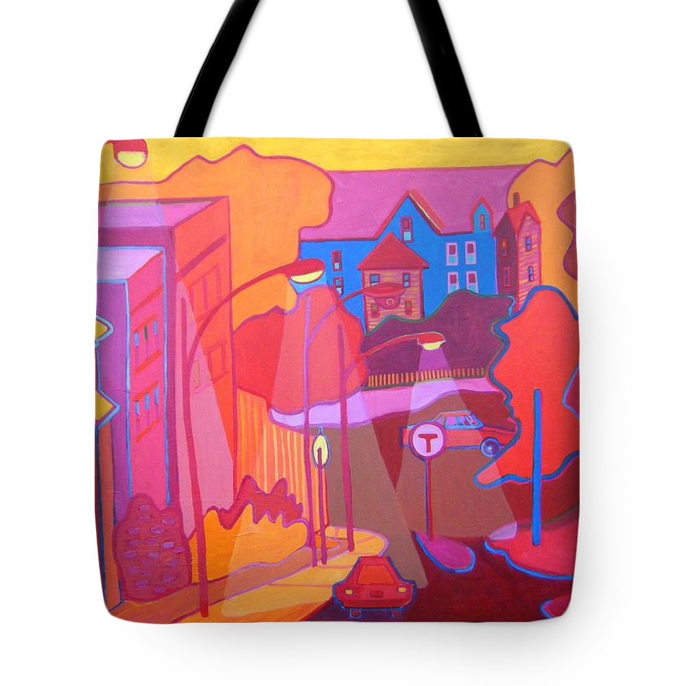Cityscape Tote Bag featuring the painting Roslindale Never Looked so Red by Debra Bretton Robinson