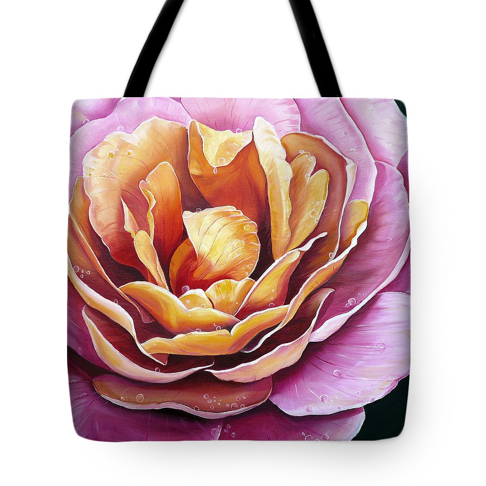 Rose Painting Pink Yellow Floral Painting Flower Bloom Botanical Painting Botanical Painting Tote Bag featuring the painting Rosy Dew by Karin Dawn Kelshall- Best