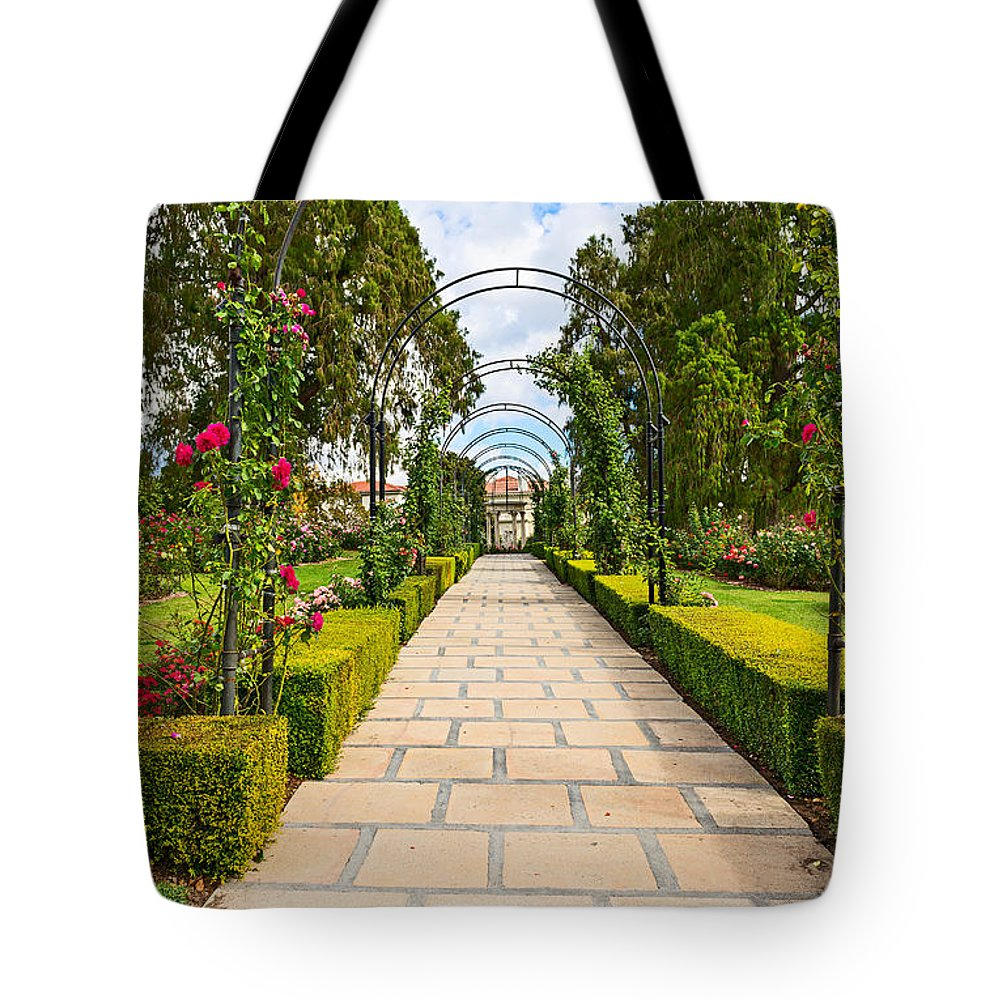 Rose Garden Tote Bag featuring the photograph Rosy Path by Jamie Pham