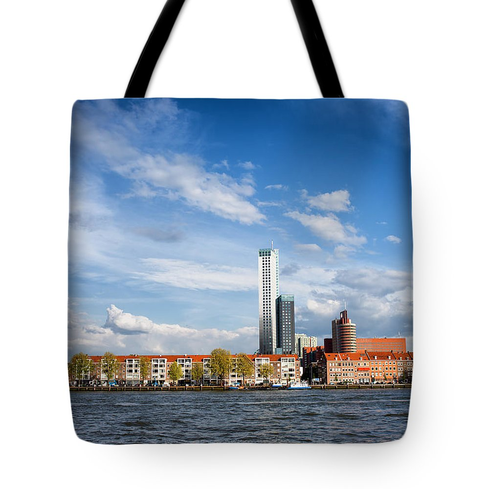 Rotterdam Tote Bag featuring the photograph Rotterdam Skyline In Netherlands by Artur Bogacki