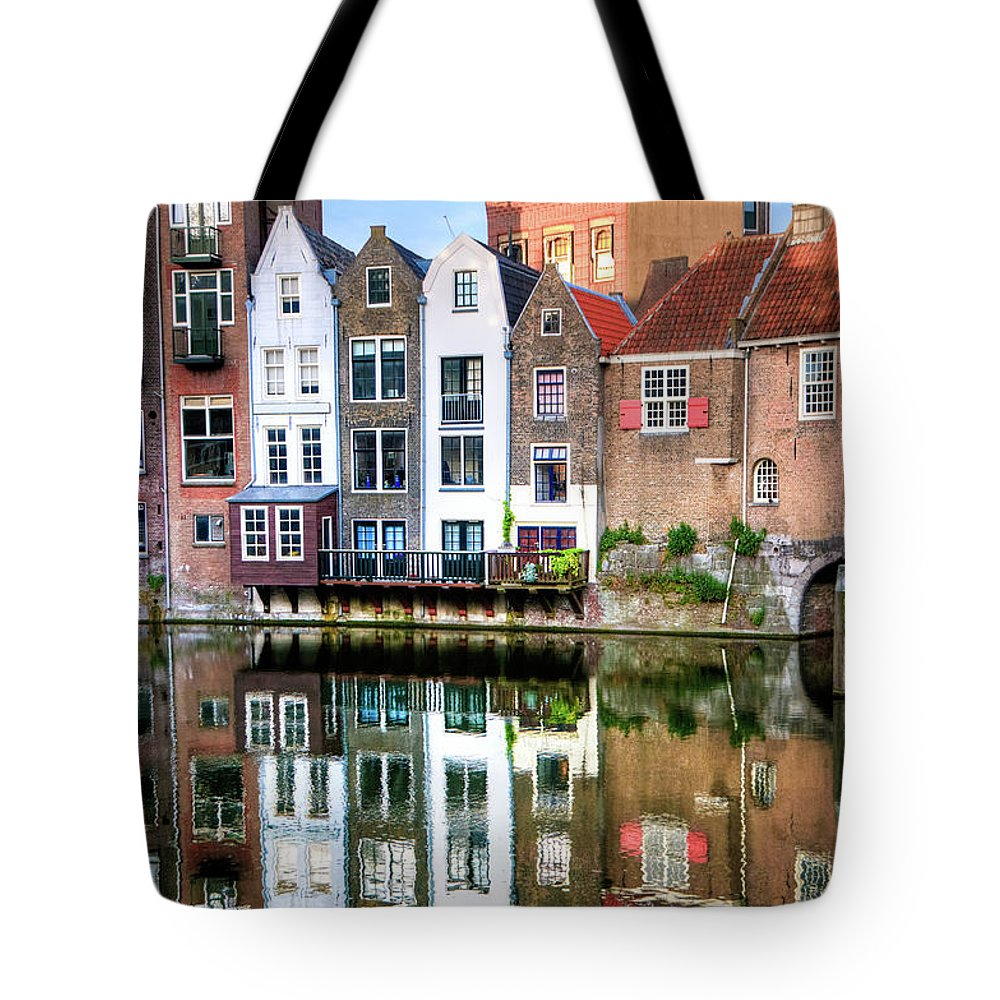 Dawn Tote Bag featuring the photograph Rotterdams Delfshaven With His Historic by Aleksandargeorgiev