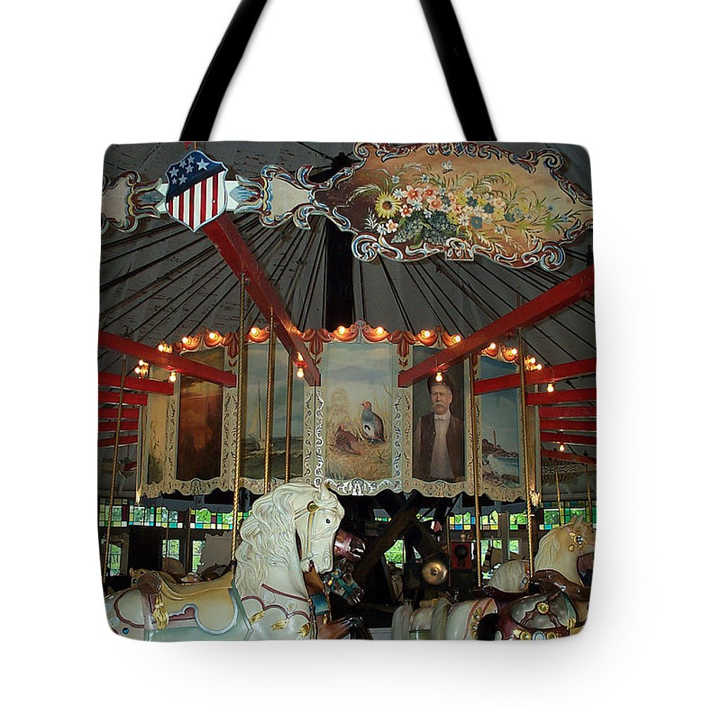Carousel Tote Bag featuring the photograph Rounding Board Slater Park Carousel by Barbara McDevitt
