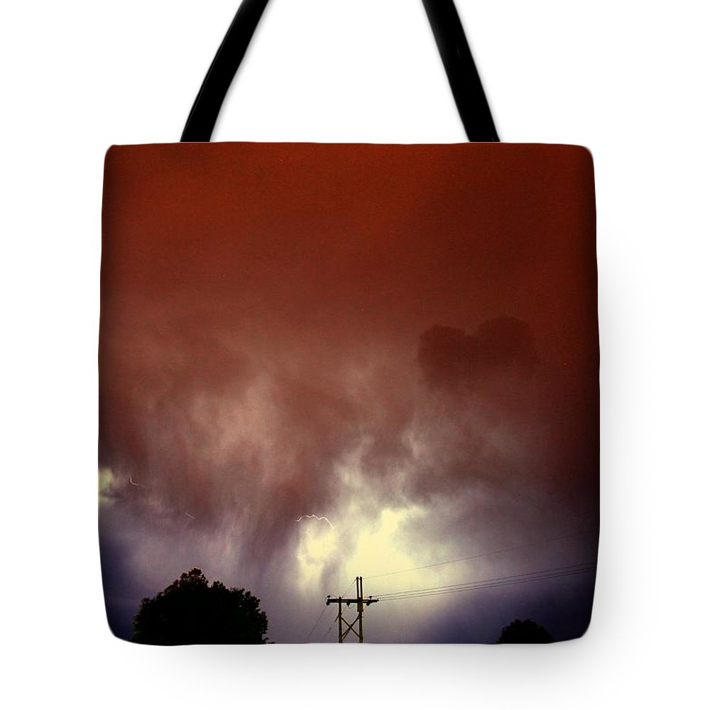 Stormscape Tote Bag featuring the photograph Rounds 2 3 Late Night Nebraska Storms by NebraskaSC