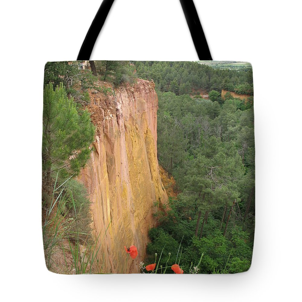 Red Rocks Tote Bag featuring the photograph Roussillon Red Rock Landscape by Christiane Schulze Art And Photography