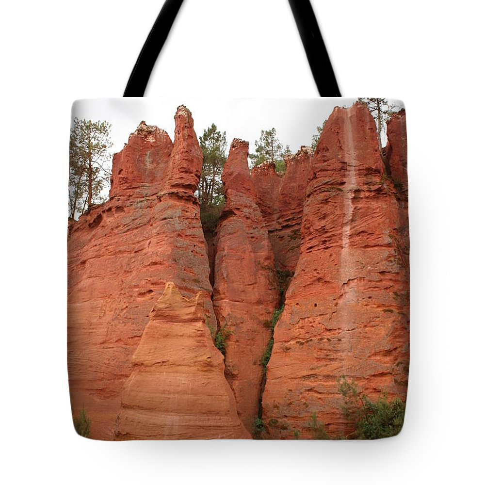 Red Rocks Tote Bag featuring the photograph Roussillonrockformation by Christiane Schulze Art And Photography