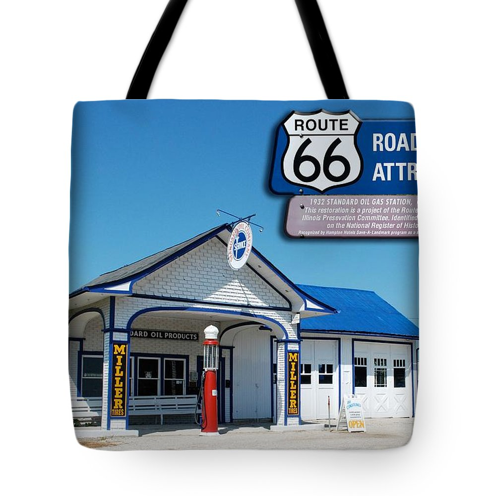 Route 66 Odell Il Gas Station Tote Bag featuring the photograph Route 66 Odell Il Gas Station Signage 01 by Thomas Woolworth