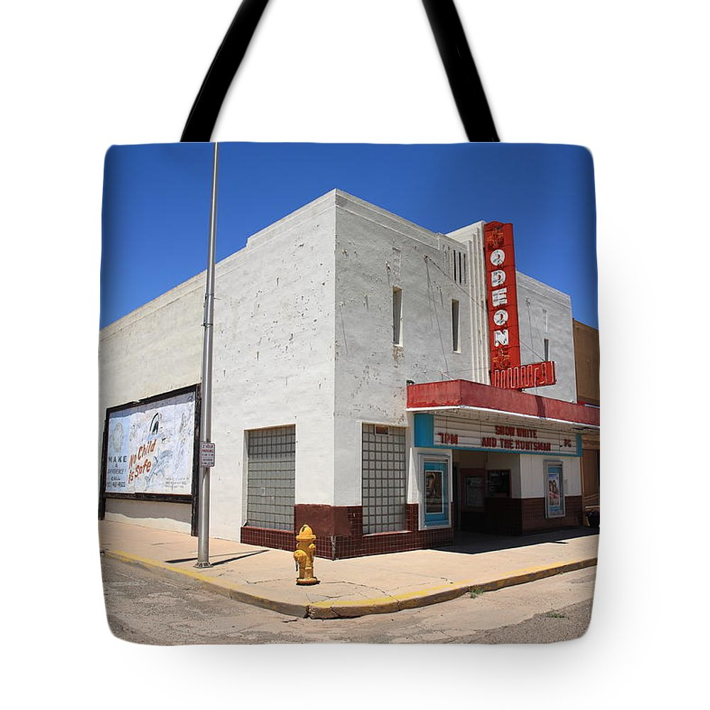 66 Tote Bag featuring the photograph Route 66 - Odeon Theater by Frank Romeo