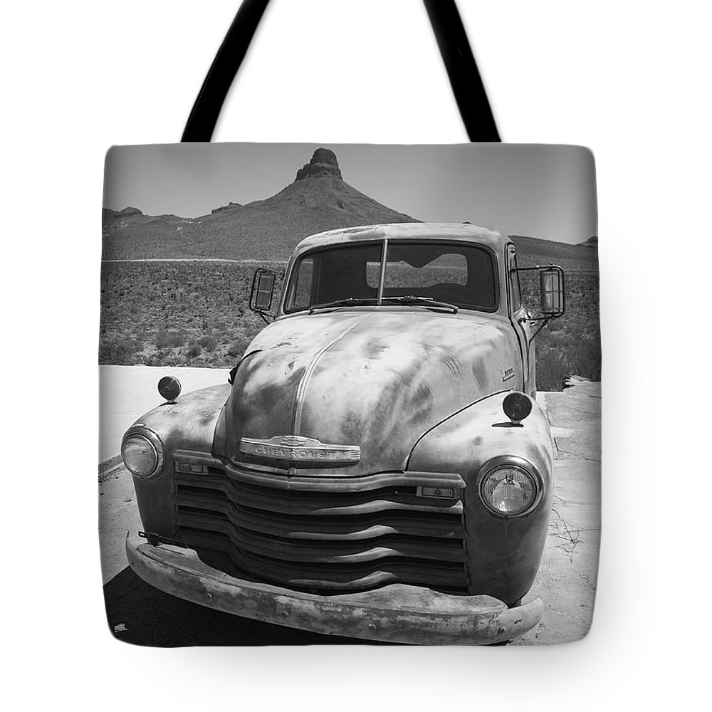 66 Tote Bag featuring the photograph Route 66 - Old Chevy Pickup by Frank Romeo