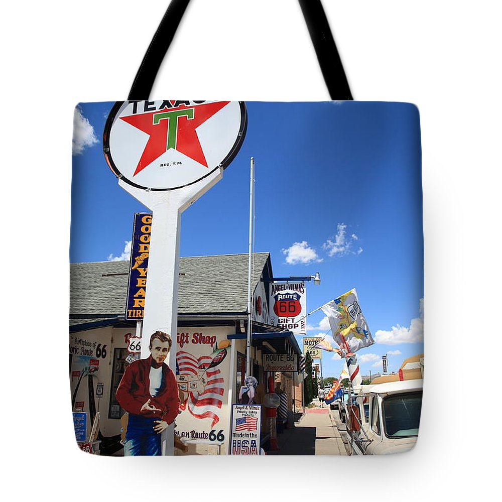 66 Tote Bag featuring the photograph Route 66 - Seligman Arizona by Frank Romeo