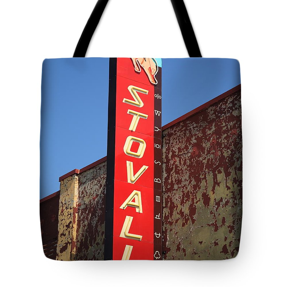66 Tote Bag featuring the photograph Route 66 - Stovall Theater by Frank Romeo